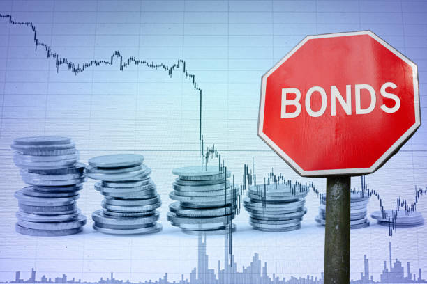 Bonds sign on economy background with graph and coins